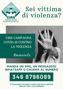 CIRS campagna Covid-19 contro la violenza